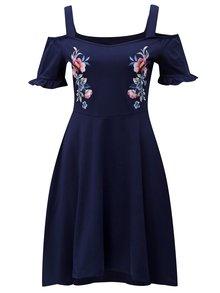 Tmavomodré šaty s odhalenými ramenami Dorothy Perkins