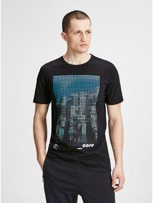 Čierne slim fit tričko s potlačou Jack & Jones Burg