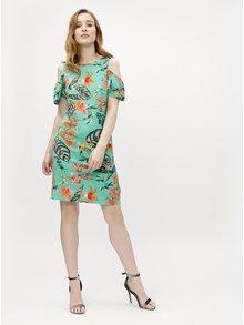 Zelené kvetované šaty s prestrihmi na ramenách M&Co