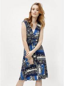 Tmavomodré vzorované šaty s krátkym rukávom M&Co