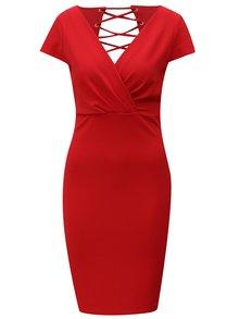 Červené šaty so šnurovaním na chrbte Dorothy Perkins