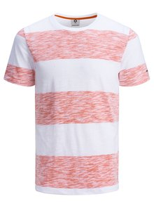 Tricou slim fit rosu-alb cu dungi Jack & Jones Stripy