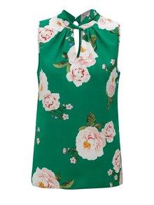 Zelená kvetovaná blúzka bez rukávov Dorothy Perkins