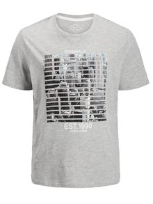 Tricou regular fit gri melanj cu imprimeu Jack & Jones Feedercity