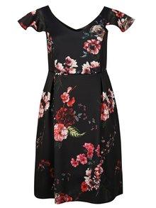 Černé květované šaty s volány Dorothy Perkins Curve