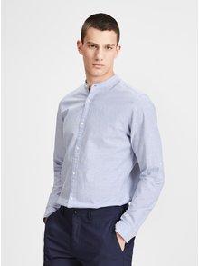 Svetlomodrá melírovaná slim fit košeľa s prímesou ľanu Jack & Jones Premium Summer