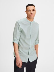 Camasa slim fit verde deschis melanj din amestec de in Jack & Jones Premium Summer