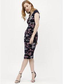 Tmavomodré kvetované puzdrové šaty M&Co