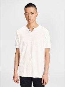 Tricou alb cu nasturi decorativi Jack & Jones Premium Benjamin