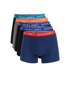 Set de 5 perechi de boxeri in culorile albastru inchis, gri si negru Jack & Jones Dewey