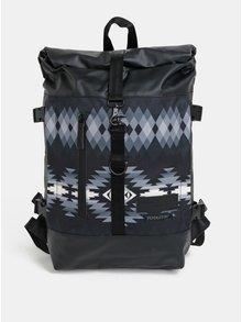 Čierny vodovzdorný vzorovaný batoh Enter Hiker Roll Top 16 l