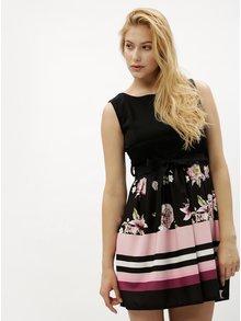 Rochie neagra cu model floral si dantela - Haily´s Julia