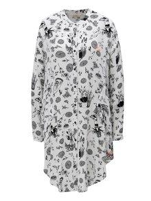 Čierno-biele vzorované košeľové šaty Skunkfunk Lakanda