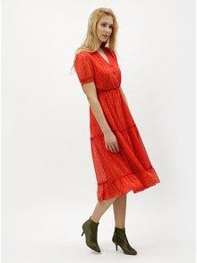 Červené kvetované šaty s véčkovým výstrihom VERO MODA Eve