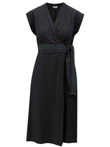 Tmavosivé šaty s prekladaným výstrihom Skunkfunk Nuria