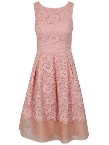 Růžové krajkové šaty Chi Chi London Maniel