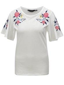 Krémové tričko s kvetovanou výšivkou Dorothy Perkins