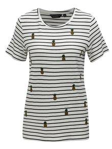 Biele pruhované tričko s výšivkami Dorothy Perkins