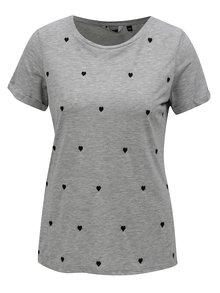 Sivé melírované tričko s motívom srdiečok Dorothy Perkins