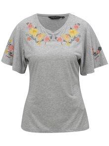 Šedé žíhané tričko s květovanou výšivkou Dorothy Perkins