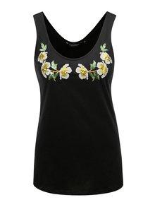 Čierne tielko s kvetinovou výšivkou a flitrami Dorothy Perkins