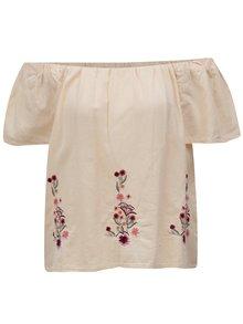 Marhuľová blúzka s kvetovanou výšivkou a odhalenými ramenami Dorothy Perkins