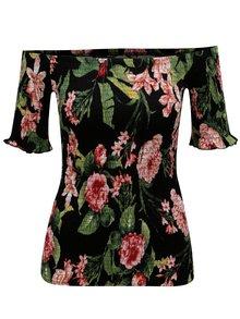 Čierne kvetované pružné tričko Dorothy Perkins