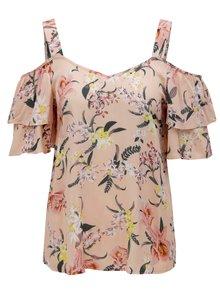Meruňkový květovaný top s průstřihy na ramenou Dorothy Perkins