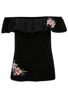 Čierne tričko s kvetovanou potlačou Dorothy Perkins