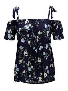 Tmavě modré květované oversize tričko s odhalenými rameny Dorothy Perkins
