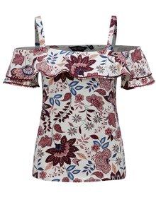 Krémové kvetované tričko s odhalenými ramenami Dorothy Perkins