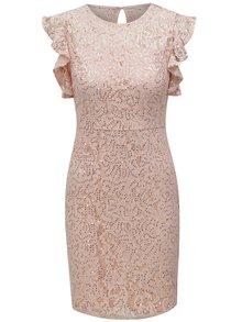 Svetloružové čipkované šaty s flitrami Dorothy Perkins Petite