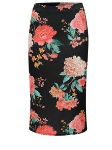 Černá květovaná pouzdrová sukně Dorothy Perkins