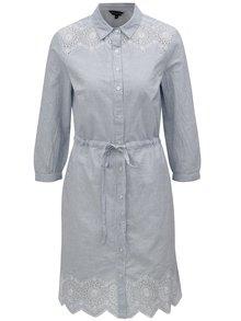 Svetlomodré pruhované košeľové šaty s madeirou Dorothy Perkins