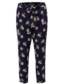 Tmavomodré skrátené kvetované voľné nohavice Dorothy Perkins Petite