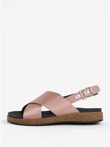 Sandale roz prafuit cu reflexii metalice pentru femei - Woden Sille