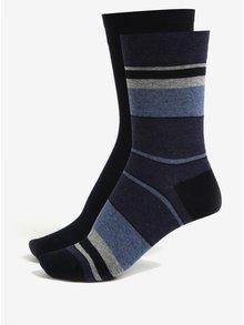 Súprava dvoch párov pánskych pruhovaných ponožiek v tmavomodrej farbe JELL