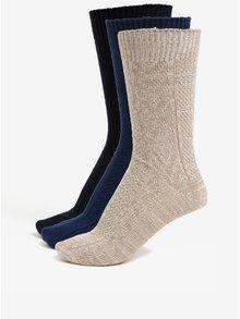Sada tří párů ponožek v modré a béžové barvě Burton Menswear London