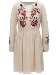 Světle růžové šaty s květovanou výšivkou Dorothy Perkins