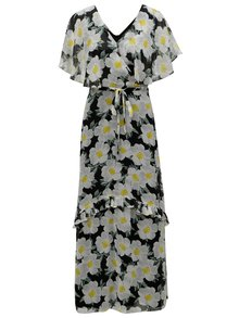 Bielo-čierne kvetované maxišaty Dorothy Perkins
