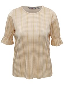Béžové metalické žebrované tričko Dorothy Perkins Petite