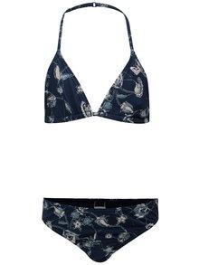 Tmavomodré dievčenské dvojdielne kvetované plavky Roxy Be
