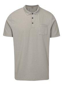 Světle šedé polo tričko s náprsní kapsou Burton Menswear London