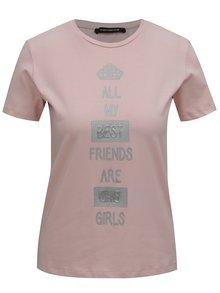 Ružové tričko s potlačou v striebornej farbe Fornarina Cara 1