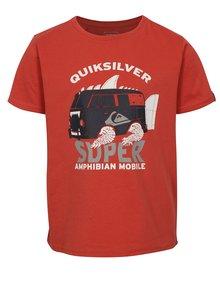 Červené chlapčenské regular fit tričko s potlačou Quiksilver