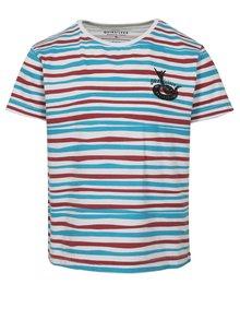 Bielo-modré chlapčenské pruhované regular fit tričko s potlačou Quiksilver