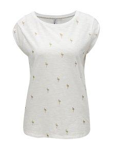 Bílé tričko s třpytivým potiskem plameňáků Haily's Selina