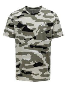 Kaki pánske maskáčové tričko s krátkym rukávom Nike