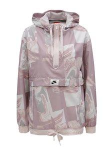 Sivo–ružová dámska vzorovaná bunda Nike