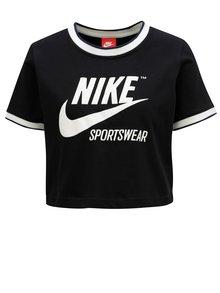 Čierny crop top s potlačou Nike